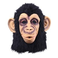 máscara de cabeça látex engraçado venda por atacado-Cabeça de Macaco engraçado Máscara De Látex Máscara Cheia de Rosto Adulto Respirável Halloween Masquerade Fancy Dress Party Cosplay Parece Real