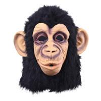 maske kafa lateksi komik toptan satış-Komik Maymun Kafa Lateks Maske Tam Yüz Yetişkin Maskesi Nefes Cadılar Bayramı Masquerade Fantezi Elbise Parti Cosplay Gerçek Görünüyor