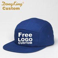 panel de texto al por mayor-DongKing Custom Jockey Hat 5 Paneles Gorra de béisbol Snapback Hat Texto libre Bordado Logo Imprimir Algodón Ajustable Personalizado