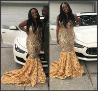neues muster-partykleid großhandel-2019 neue Heiße Afrikanische Meerjungfrau Prom Kleider Gold Pailletten Formale Abendkleider Blumenmuster Pageant Party Kleid Plus Größe