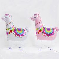 ingrosso decorazioni di compleanno porcellana-New Lama alpacos Palloncino Cartoon Animal Dinosaure Walking Pet Balloons Palloncino foil in alpaca rosa e bianco per la decorazione della festa di compleanno