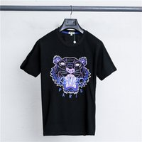 Wholesale collar coupling shirt for sale - Group buy 2019 big sales early spring new Kenzos round collar short sleeve T shirt classic tiger head letters embroidery stitching couples