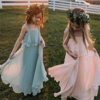 Discount long girl dresses trains 2021 Lovely Juniors Bridesmaid Dresses For Boho Wedding Spaghetti Layers Skirt Chiffon Flower Girl Dress Beach Party Evening Gowns Toddlers