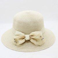 amplio sombrero de playa floppy al por mayor-2018 nuevos sombreros de paja para el verano de la mujer, primavera, ala ancha, playa, sombreros, gran arco, sombrero para el sol, capeau femme, chapeu de praia