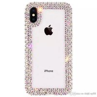 fundas para iphone gratis al por mayor-Envío gratis Luxury Diamond Designer Phone Cases Cover coque para iPhone Xs MAX Xr 6 7 8 Plus Case Clear Rhinestone Glitter Phone Case