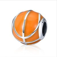 925 Sterling Silver Basketball Football Beads Blue Crystal Sport Soccer Charms for European Bracelets Necklace DIY Jewelry Accessories