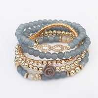 rose gold mode perlen armband großhandel-Europäische und amerikanische Mode Joker Perlen Armband Set Armband böhmischen elegante Rose mehrschichtige Kristall elastische Armband