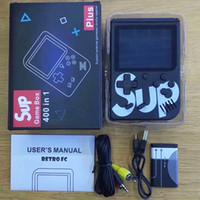 caixa md venda por atacado-SUP Mini Handheld consola De Jogos De Vídeo Portátil Jogadores 400 EM 1 Jogo CAIXA Colorido LCD Screen Game Player