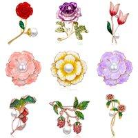 gelin broşları toptan satış-Zarif Gül Çiçek Lale Şakayık Çiçek Broş Pin Kristal Kostüm Takı Elbise Aksesuarları Takı Broş Gelin Broşlar