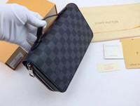 erkek pasaportu toptan satış-Yeni Zippy XL Cüzdan yuvarlak fermuar seyahat kılıf Siyah Çanta Erkekler Gerçek Epi Deri M61506 Kahverengi Pasaport çanta Tutucu tasarımcı Damier Ebene debriyaj