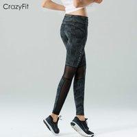 sıkı kapri kadınları toptan satış-CrazyFit yeni kadın yoga koşu eğitim profesyonel spor sıkıştırma Capri pantolon tayt Rahat Iplik ekleme yoga pantolon # 969952