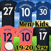 uniformes de futbol naranja negro al por mayor-Everton 19 20 Camisetas de fútbol RICHARLISON KEAN SIGURDSSON Camisetas de fútbol 2019 2020 TOSUN WALCOTT Everton naranja negro Hombres Niños Uniformes