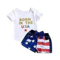 jeu de drapeau bébé achat en gros de-enfants vêtements de marque garçons drapeau américain tenues enfants top + Hole Denim shorts 2pcs / set 2019 été 4 juillet vêtements de bébé ensembles C6570