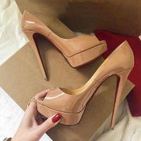 topuklu sandalet toptan satış-En iyi Yüksek Topuklu Tasarımcı Sandalet Kırmızı Alt Pummps Hakiki Deri burnu açık Yuvarlak toes Kadınlar için Elbise Topuklu Kalın Dipleri Sandalet