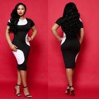 ingrosso vestito nero sexy chiaro-Nuovo vestito sexy di disegno sottile di modo di colore bianco e nero che abbina il vestito dalla stampa pianura del manicotto del collo rotondo per tutte le occasioni