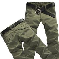 мешковатые штаны из хлопка для мужчин оптовых-2019 Mens  Cargo Pants Multi-pockets Baggy Men Cotton Pants Casual Overalls Army Tactical Trousers No Belts