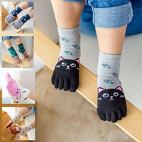 niños calcetines dedos de los pies al por mayor-BalleenShiny niños de cinco dedos del calcetín de algodón 100% cuatro estaciones Los niños unisex lindo de la historieta de los niños suave y transpirable calcetín del dedo del pie para 3-12Y