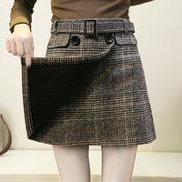 ingrosso gonna coreana di lana-Safty Pants Gonna di lana Donna Autunno Nuovo coreano Cintura a bottoni in pizzo Plaid in cotone a vita alta Wild A-Line Short Mini Skirt