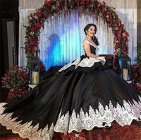 Wholesale crystal illusion sleeves quinceanera resale online - Cheap Ball Gown Black Quinceanera Dresses For Girls Satin Cap Sleeves Appliques Long Sweet Prom Dress Formal Gowns