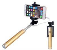selfie stick para nota venda por atacado-Liga de alumínio do metal selfie vara wired selfie vara para selfie para iphone 6 6 s plus 5S 4 para samsung note 8 s8 s9 além de