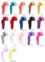 Wholesale silky scarves resale online - Cheap silk Long Tail Scarf Cap Men s Satin Durags Bandanna Turban Wigs Men Silky Durag Headwear Pirate Hat colors