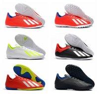 tacos de fútbol de alta calidad al por mayor-2019 nueva llegada zapatos de fútbol de calidad superior interiores tobillo bajo para hombre botines de fútbol X Tango 18.4 TF botas de fútbol X 18 tobillo alto scarpe calcio