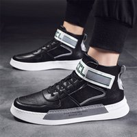 Wholesale top male shoes designers for sale - Group buy White Sneakers For Men Casual Shoes PU Leather High Top Loafers Comfortable Shoes Male Designer Zapatos Hombre