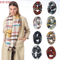 başörtüsü toptan satış-Plaid Ring Scarf 12 Colors Infinity Shawl Wrap Loop Scarf Knitting Multi-function Headscarf Women Neckchief LJJO7150
