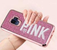 ingrosso flash casi 3d-NICE Cover rosa Fashion Design Flash 3D Ricamo Love Pink Flash Custodia in metallo per cellulare in polvere per iPhone X, iPhone 8, 7, 6 Plus