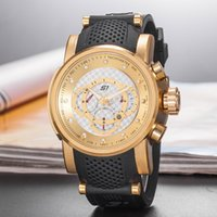 Wholesale wrist watches for men for sale - Luxury Invicta Men Wrist Watch Big Dial rubber band Military Sport Watch Famous Male Clock For Man