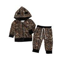 chaqueta con cremallera para niñas al por mayor-Leopardo de la manera ropa de los niños del niño del bebé Niñas Niños Tracsuit sudadera con capucha estampado leopardo postales chaquetas y camisetas Pantalones Sport traje