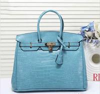 h tasarımcı çantası toptan satış-Tasarımcı Timsah desen kadın tasarımcı çanta 30cm büyük kapasiteli H moda kılıf çanta bag 35cm handbags