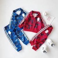 kız bebek kıyafeti lüks toptan satış-set Perakende çocuklar lüks tasarımcı giysi erkek kız kamuflaj beyzbol eşofman 2adet spor takım elbise (ceket + etek pantolon) bebek eşofman kıyafetler