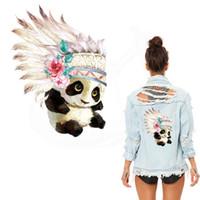menina panda vestido venda por atacado-2018 Novo design de estilo Indiano Bonito panda de ferro em remendos 25 * 18 cm Diy menina T-shirt Vestidos de transferência térmica Patch para a roupa