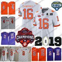 jerseys clemson al por mayor-2019 Clemson Tigers 16 Trevor Lawrence Champions Jersey 9 Travis Etienne Jr. 4 Watson Hunter Deshaun Renfrow Purple White Orange Cotton Bowl