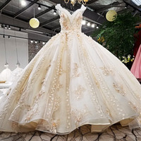 Wholesale wedding ball grown for sale - Wedding Dress Champagne Luxury Ball Grown V Neck Colorful D Flowers Keyhole Back Cap Sleeves Lace Up Back Super Luxury Big Long Tail
