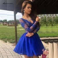 kısa dantel gala elbisesi toptan satış-Lakshmigown Peri Kısa Mezuniyet Elbiseleri V Boyun Vintage Dantel Mini Kraliyet Mavi Gelinlik Modelleri Uzun Kollu Vestidos de Gala 2019