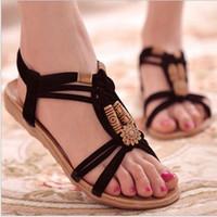 ingrosso sandali perline-Vendita calda-Moda estiva Infradito Sandali da spiaggia da donna String Bead Elastici neri Scarpe piatte Sandali gladiatore Mujer per donna