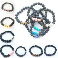 parfüm armbänder großhandel-12 farben lave rock naturstein buddha perle parfüm armband 7 chakra gold farbe glück männer frauen armband armband free dhl d127s