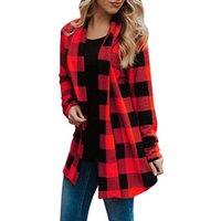 manda modası toptan satış-Buffalo Kadın Ekose Ceket Kadın Uzun Kollu Hırka V Boyun Moda Açık Ön Kat 2019 Bahar Kadın Rahat Streetwear