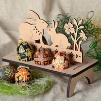 Wholesale shelving supplies resale online - Easter Eggs Shelves Wooden Creative DIY Kids Crafts Bunny Hen Happy Easter Pattern Party Decoration For Home QW9721