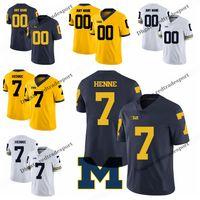 ingrosso henna blu-Personalizza 2019 Michigan Wolverines Chad Henne College Football Maglie Blu Giallo # 7 Chad Henne Stitched Football Shirts S-XXXL