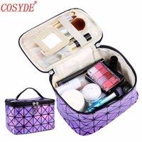 ingrosso mini specchi cosmetici-Cosyde 3D Pu pelle Make Up borsa da viaggio Cosmetic Bag Con Specchio Lattice donna trucco da toilette Mini sacchetti cosmetici per le donne