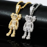 Wholesale solid brass necklace for sale - Group buy Cartoon character doll solid pendant full of zircon male and female couple hip hop Street Necklace