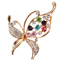 Wholesale assorted brooches resale online - Crystal Rhinestones Assorted Butterfly Brooch Pins Fashion Costume Jewelry for Women or Girls