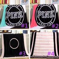 rahat battaniyeler toptan satış-Yetişkinler için 5 Renk Aşk Pembe Letter Battaniye Yumuşak Mercan Kadife Plaj Havlusu Battaniye Klima Kilimler Rahat Halı Çocuklar 130 * 150cm