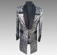 Wholesale punk clothing patterns resale online - Pattern sequins blazer men suits designs jacket mens stage costumes singers long clothes dance star style dress punk rock