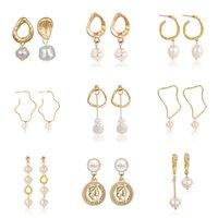 natürliche perle tropfen ohrringe großhandel-Natürliche Frischwasserperlen Anhänger Ohrringe für Frauen Geometrische Unregelmäßige Asymmetrische Gold Mode ZA Schmuck Weiblichen Geschenk