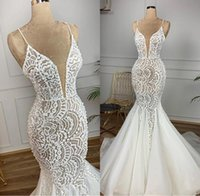 Wholesale sexy wedding dresses online - Designer Mermaid Lace Beaded Arabic Wedding Dresses Spaghetti Sexy Vintage Bridal Dresses Charming Elegant Sweep Train Wedding Gowns