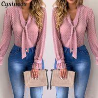 ingrosso più la parte superiore dentellare di formato-Le donne camicette di modo manica lunga con scollo a V camicia rosa in chiffon Ufficio camicetta Slim parti superiori casuali più il formato S-5XL
